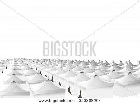Mina Hajj Tents In Saudi Arabia For Pilgrims. Islamic Pilgrimage. Pillar Of Islam. Vector Illustrati