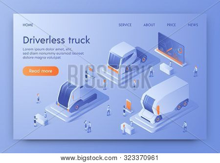 Driverless Truck Banner, Autonomous Commercial Vehicle With Artificial Intelligence Control Expo. Pe