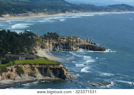 Panoramic Overlook Of Rocky Headlands And Pacific Ocean At Cape Foulweather State Park, Along The Sc