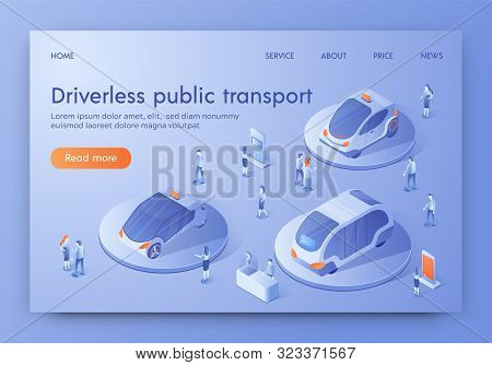 Driverless Public Transport Banner, People Visit Show Room Exhibition With Unmanned Auto Transport A