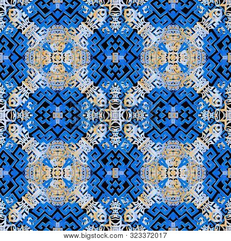 Intricate Tribal Colorful Greek Seamless Pattern. Vector Ornamental Abstract Background. Ethnic Styl