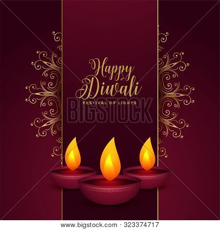 Decorative Happy Diwali Festival Card Design With Three Diya