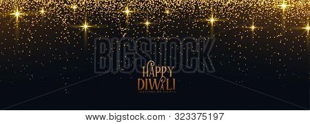 Happy Diwali Golden Sparkle And Glitter Banner