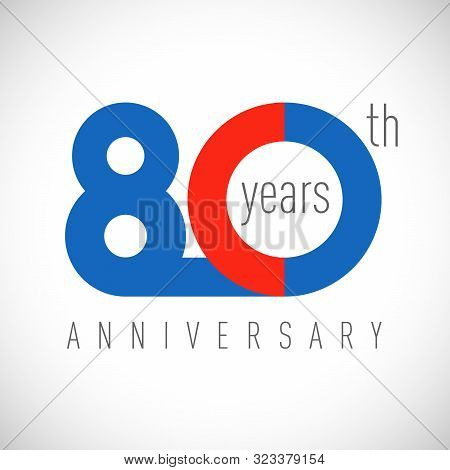 80 Th Anniversary Numbers. 80 Years Old Congrats, Colorful Logotype. Congratulation Idea. Isolated A
