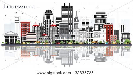 Louisville Kentucky USA City Skyline with Gray Buildings and Reflections Isolated on White. Business Travel and Tourism Concept with Modern Architecture. Louisville Cityscape with Landmarks.