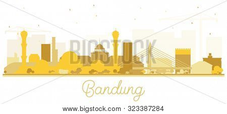 Bandung Indonesia City Skyline Silhouette with Golden Buildings Isolated on White. Business Travel and Tourism Concept with Historic Architecture. Bandung Cityscape with Landmarks.