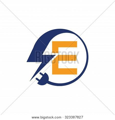 Electrical Sign With The Letter E,  Electricity Logo, Electric Logo And Icon Vector Design Template.
