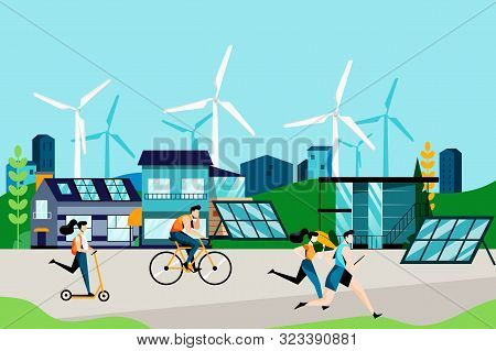 Eco City And Eco Living Concept. Modern Technologies Of Green Energy, Solar Panels And Wind Turbines