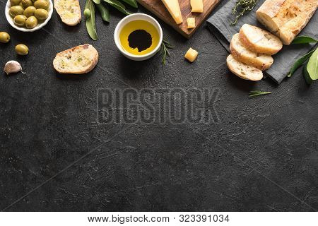 Italian Food Background. Fresh Italian Ciabatta Bread With Herbs, Olive Oil, Balsamic Vinegar, Parme