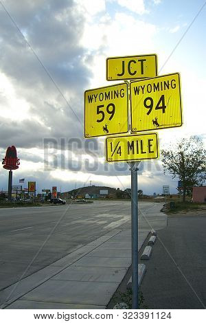 Douglas, Wyoming - October 1: State Highway Signs Near The Interstate Highway On October 1, 2009 In