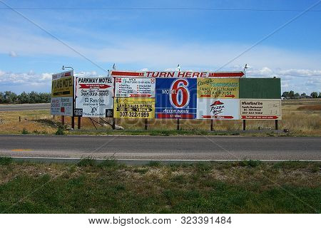 Wheatland, Wyoming - October 1: Advertising For Roadside Motels And Attractions On October 1, 2009 I