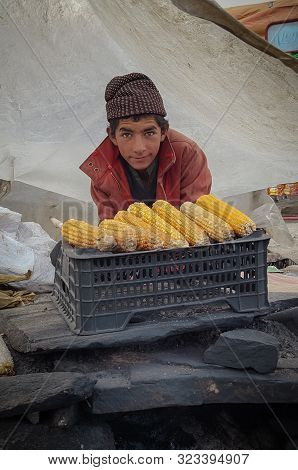 Pashtun Young Boy Selling Corn At Babusar Top, Kaghan, Kpk, Pakistan 20/08/2019