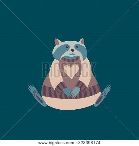 Raccoon Wearing Clothes. Scandinavian Style Vector Wild Forest Animal. Cartoon Retro Character. Cute