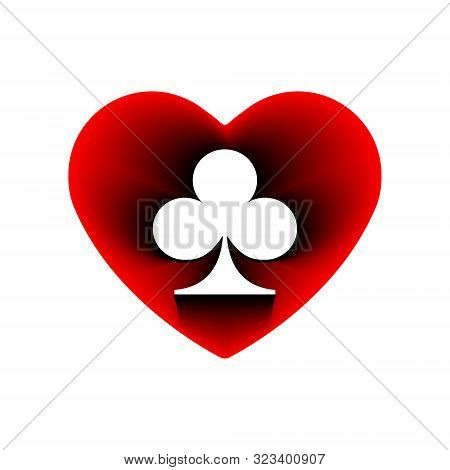 Red Heart Clubs Suit Icon. A Symbol Of Love. Valentine S Day With Sign Playing Card Suits. Flat Styl