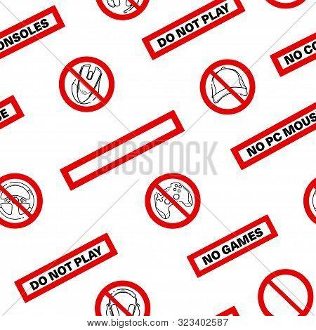 No Games. No Consoles. No Gamepad Seamless Pattern. No Joystick Sign. Forbidden Gamepad Icon. Prohib