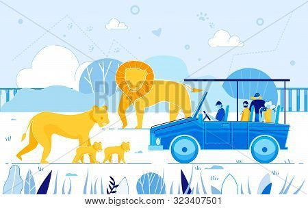 Cartoon People Tourist Watch Leo Pride Savanna, Male Lion With Lioness Baby Cub Vector Illustration.