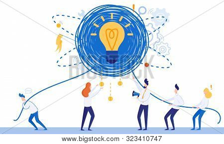 Banner Creating Profitable Idea Cartoon Flat. Closeup Glowing Incandescent Lamp Entwined With Ropes.