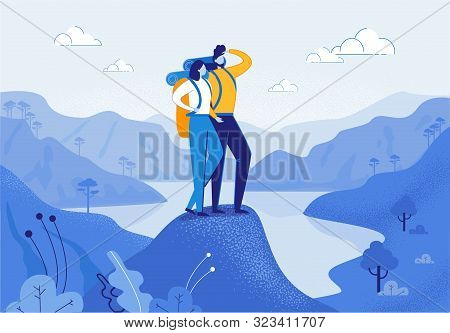 Young Woman And Man Couple Hiking In Mountains Flat Cartoon Vector Illustration. Friend Characters W