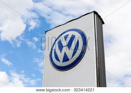 Minsk, Belarus - July 15, 2019: Volkswagen Carmaker Logo On A Facade. Volkswagen Is A German Car Man