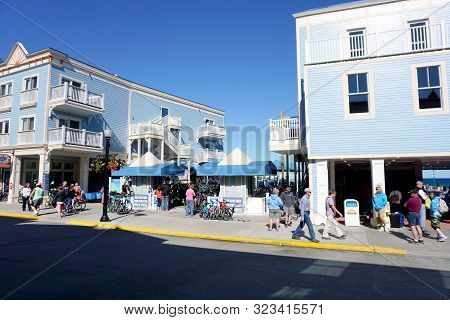 Mackinac Island, Michigan / United States - June 11, 2018: One May Rent A Bicycle At The Mackinac Is