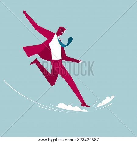 The Businessman Run In Mid-air. Isolated On Blue Background.