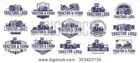 15 Vector Set Of Tractor Logo Or Farm Logo Template Collection, Suitable For Any Business Related To