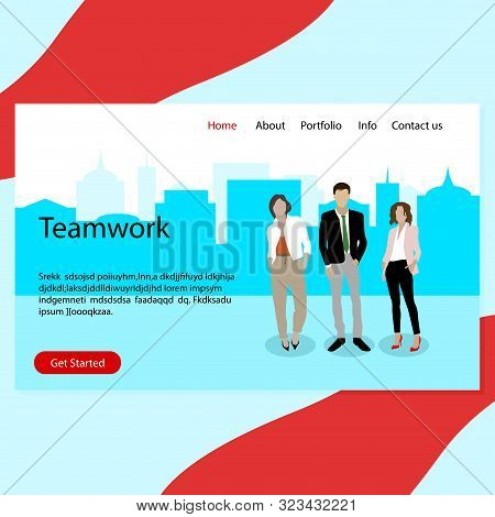 Success Teamwork, Real Confident Business Team Landing Page. Confident Successful Professional Team