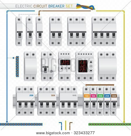 Electric Circuit Breaker Switch Box Set On White Transparent Background. Electrician Fuse Protection
