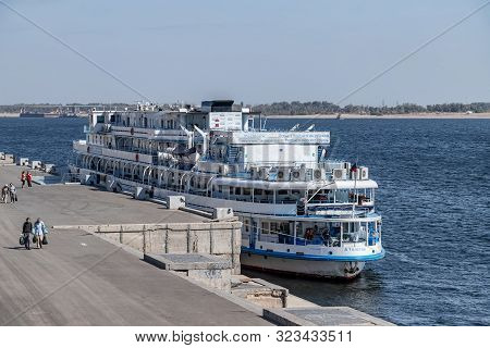 Passenger Ship Alexei Tolstoy Moored At The Pier Of The Central Embankment Of Volgograd Opposite The