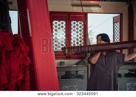 Thai Buddhism People In Buddhist Pray For Benefaction Worship With Temple Bell To Buddha At Chinese
