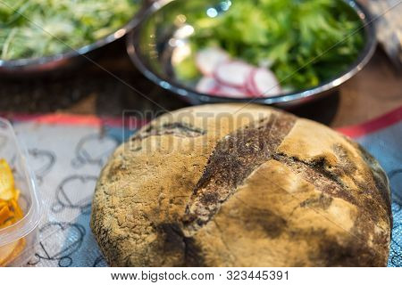 Sourdough bread with vegetables salad for sale at Thai street food market or restaurant in Thailand poster