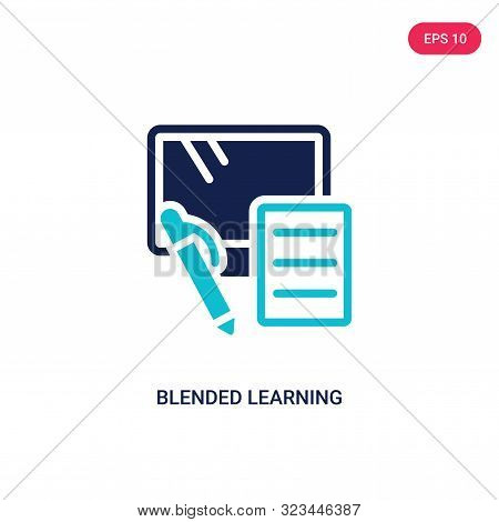 blended learning icon in two color design style.