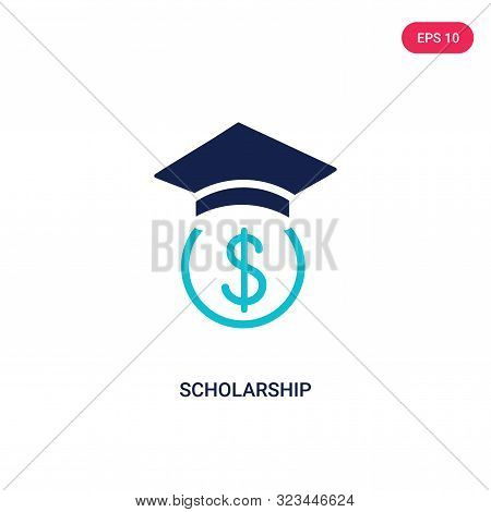 scholarship icon in two color design style.