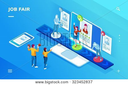 Smartphone Application Isometric Screen For Job Recruit Or Career Expo, Recruiting Interview Or Empl