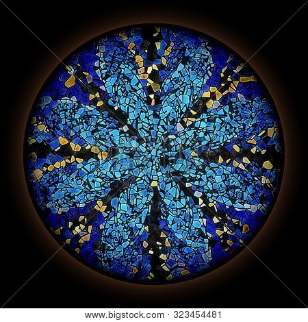 Colorful Pattern In Style Of Gothic Stained Glass Window With Round Frame. Multicolored Floral Ornam