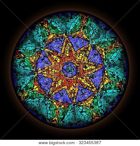 Colorful Pattern In Style Of Gothic Stained Glass Window With Round Frame. Abstract Ornament.