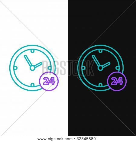 Green and purple line Clock 24 hours icon isolated on white and black background. All day cyclic icon. 24 hours service symbol. Vector Illustration poster