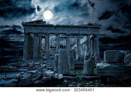 Athens At Night, Greece. Fantasy View Of Old Mysterious Parthenon Temple, Top Landmark Of Athens Cit