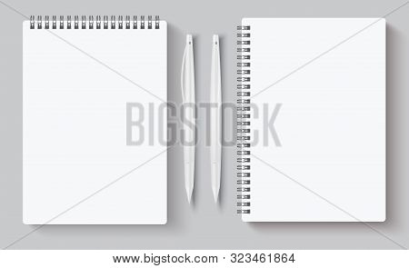 Realistic Spiral Notebooks. Blank Notepad And White Pen. Vector Illustration Mock Up Empty Template