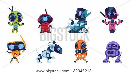 Futuristic Robots. Cartoon Modern Ai Characters Of Different Types, Set Of Personal Assistants. Vect