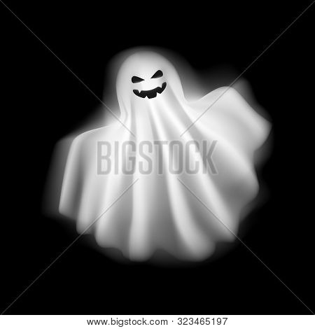 Realistic Detailed 3d Character Funny And Scary Ghost On A Background. Vector Illustration Of Playfu