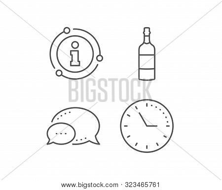 Brandy Bottle Line Icon. Chat Bubble, Info Sign Elements. Whiskey Or Scotch Alcohol Sign. Linear Bra