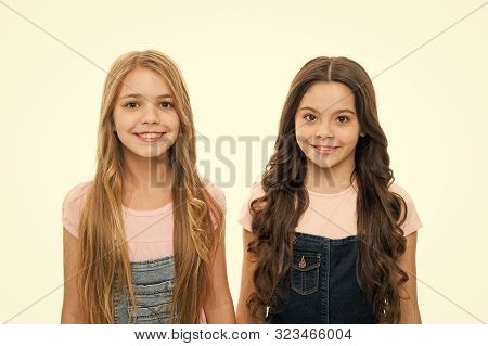 poster of Healthy and shiny hair. Kid cute child with long adorable hairstyle. Hair care tips and professional treatment. Long hair feminine attribute. Girls usually let their hair grow long. Natural beauty.