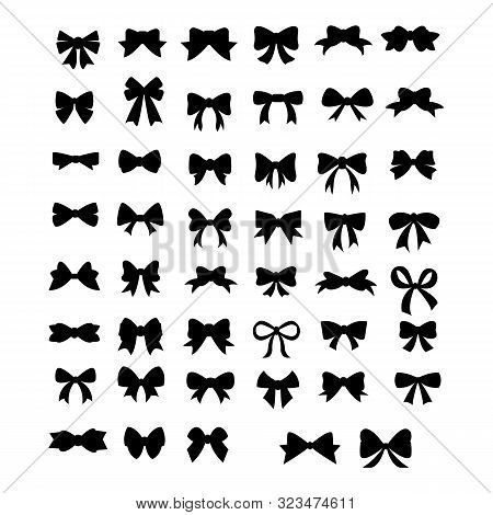 Vector Sillouettes,set Of Graphical Decorative Bows, Flat Design Isolated On White Background,bow  F