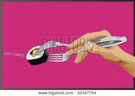Sushi with forks as chopsticks