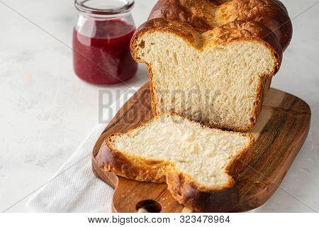 Delicious Homemade Organic Fresh Brioche Bread On White Table.