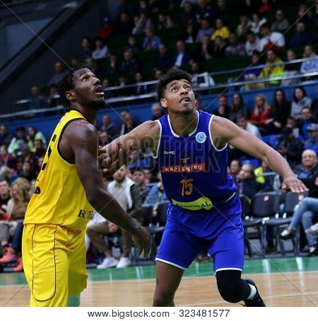 Kyiv, Ukraine - September 20, 2019: Deon Edwin Of Bc Kyiv Basket (l) And Jeremy Jones Of Kapfenberg