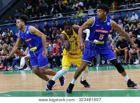 Kyiv, Ukraine - September 20, 2019: D. Edwin Of Bc Kyiv Basket (С), K. Nathanial Gumbs And T. Schrit