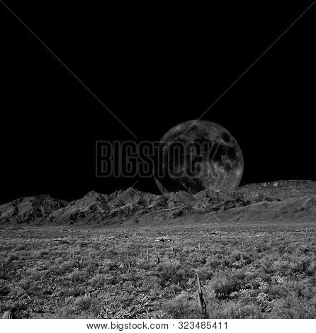 Desert Moon Over The Southwestern Usa Sonora Desert And Mountains