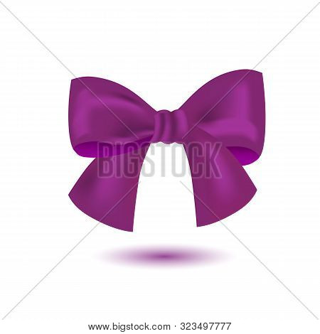 Realistic Purple Bow Isolated On White Background